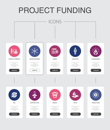 project funding Infographic 10 steps UI design.crowdfunding, grant, fundraising, contribution simple icons 向量圖像