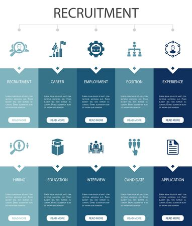 recruitment Infographic 10 steps UI design.career, employment, position, experience simple icons