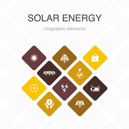 Solar energy Infographic 10 option color design. Sun, battery, renewable energy, clean energy simple icons