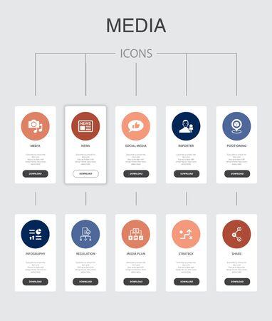 media Infographic 10 steps UI design.news, reporter, Infographics, media plan simple icons Ilustração