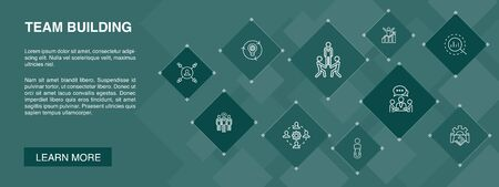 team building banner 10 icons concept.collaboration, communication, cooperation, team leader simple icons Illustration