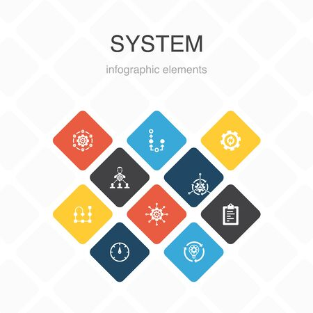 system Infographic 10 option color design. management, processing, plan, scheme simple icons