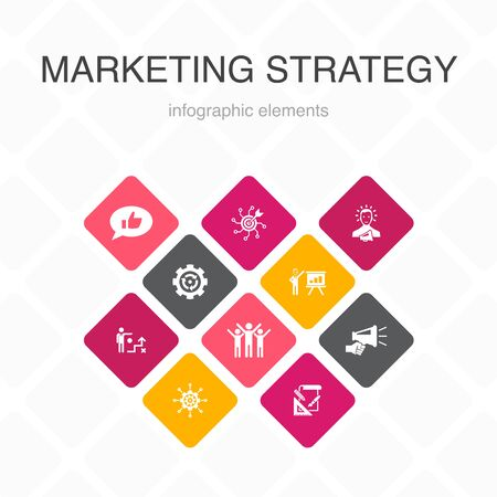 marketing strategy Infographic 10 option color design.planning, marketing manager, presentation, planning simple icons 向量圖像