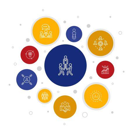 team building Infographie 10 étapes bubble design.collaboration, communication, coopération, chef d'équipe icônes simples