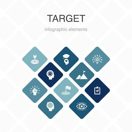 target Infographic 10 option color design. big idea, task, goal, patience simple icons