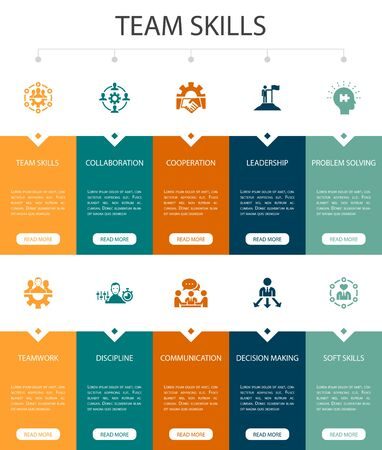 team skills Infographic 10 steps UI design.Collaboration, cooperation, teamwork, communication simple icons Illustration