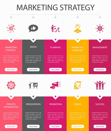 marketing strategy Infographic 10 steps UI design.planning, marketing manager, presentation, planning simple icons 向量圖像
