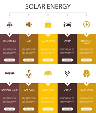 Solar energy Infographic 10 steps UI design.Sun, battery, renewable energy, clean energy simple icons 向量圖像