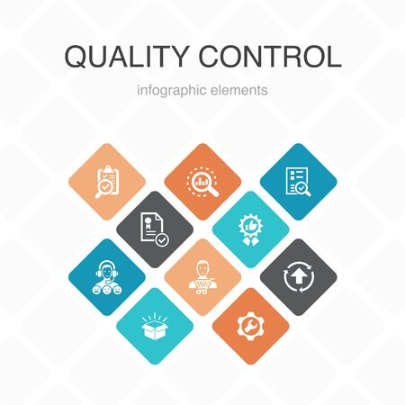 quality control Infographic 10 option color design. analysis, improvement, service level, excellent simple icons