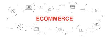 eCommerce Infographic 10 stappen cirkel ontwerp. online winkel, winkelwagen, betalingsverwerker, eenvoudige pictogrammen voor e-commerceoplossingen