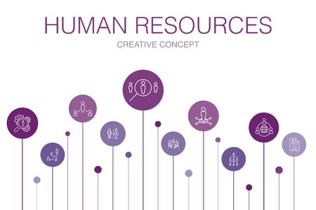 Human Resources Infographic 10 steps template.job interview, hr manager, outsourcing, resume simple icons
