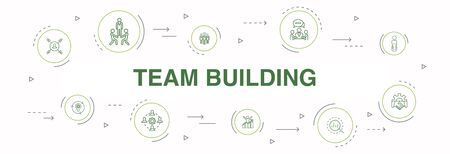 team building Infographic 10 steps circle design. collaboration, communication, cooperation, team leader simple icons Illustration