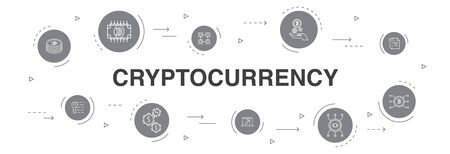 Cryptocurrency Infographic 10 steps circle design. blockchain, fintech industry, Mining, Cryptography simple icons