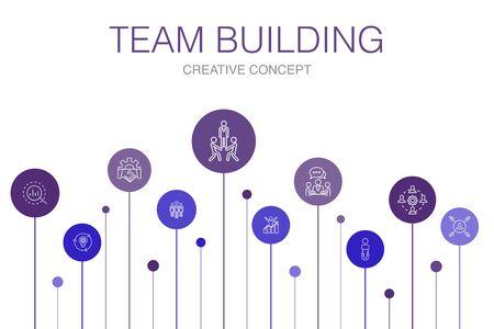 team building Infographie 10 étapes template.collaboration, communication, coopération, chef d'équipe icônes simples