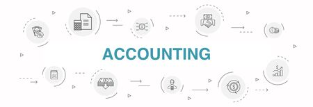 Accounting Infographic 10 steps circle design. Asset, Annual report, Net Income, Accountant simple iconsc Ilustracja