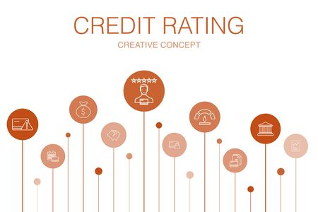 credit rating Infographic 10 steps template.Credit risk, Credit score, Bankruptcy, Annual Fee simple icons 写真素材 - 133445692
