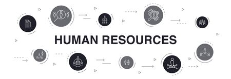 Human Resources Infographic 10 steps circle design. job interview, hr manager, outsourcing, resume simple icons Vectores