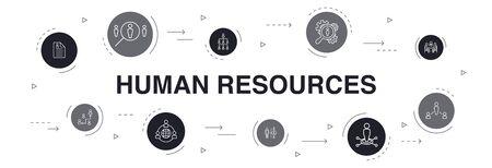 Progettazione del cerchio di 10 punti di Infographic delle risorse umane. colloquio di lavoro, responsabile delle risorse umane, outsourcing, curriculum semplici icone Vettoriali