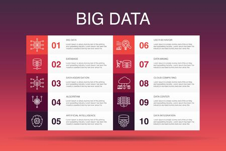 Big data Infographic 10 option template.Database, Artificial intelligence, User behavior, Data center simple icons