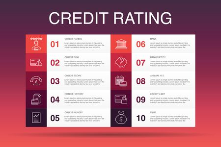 credit rating Infographic 10 option template.Credit risk, Credit score, Bankruptcy, Annual Fee simple icons 写真素材 - 133445647