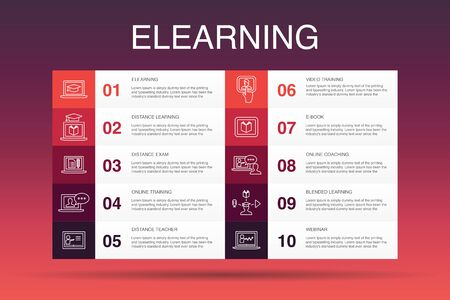 eLearning Infographic 10 option template.Distance Learning, Online Training, Video training, Webinar simple icons