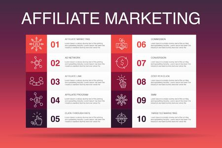 affiliate marketing Infographic 10 option template.Affiliate Link, Commission, Conversion, Cost per Click simple icons