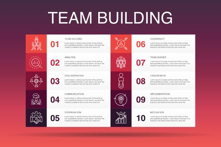 team building Infographic 10 option template.collaboration, communication, cooperation, team leader simple icons