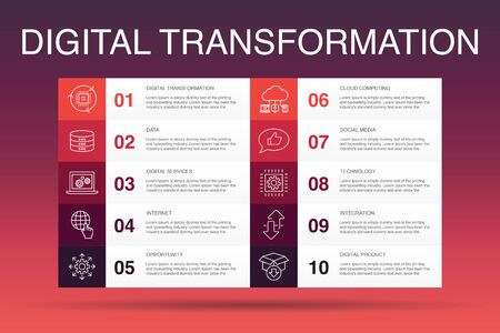Digitale Transformation Infografik 10 Option Vorlage.digitale Dienste, Internet, Cloud Computing, Technologie einfache Symbole Vektorgrafik