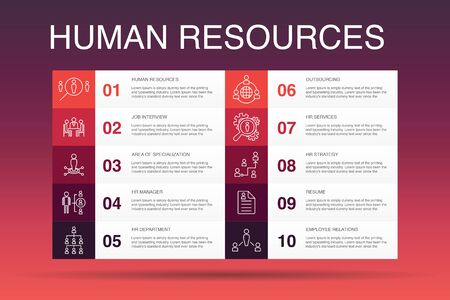 Human Resources Infographic 10 option template.job interview, hr manager, outsourcing, resume simple icons