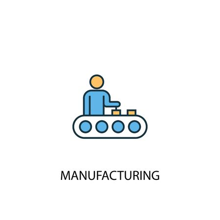 manufacturing concept 2 colored line icon. Simple yellow and blue element illustration. manufacturing concept outline design