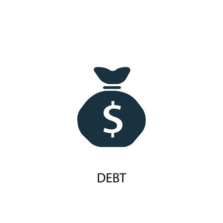 Debt icon. Simple element illustration. Debt concept symbol design. Can be used for web