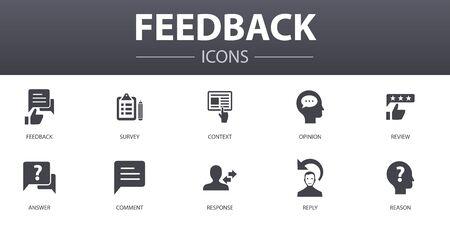 conjunto de iconos de concepto simple de retroalimentación. Contiene iconos como encuesta, opinión, comentario, respuesta y más, se puede utilizar para web, logo