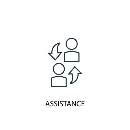 assistance concept line icon. Simple element illustration. assistance concept outline symbol design. Can be used for web and mobile Ilustrace