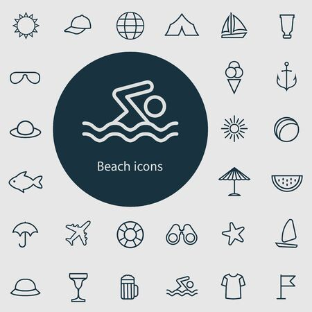 beach outline, thin, flat, digital icon set