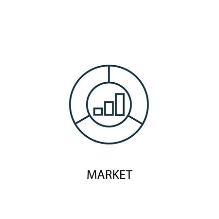 market concept line icon. Simple element illustration. market concept outline symbol design. Can be used for web and mobile
