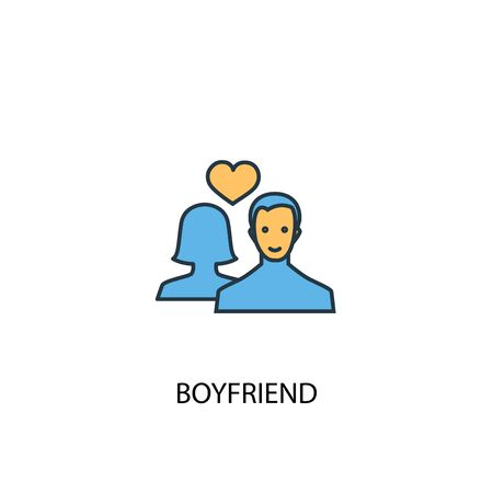 boyfriend concept 2 colored icon. Simple blue element illustration. boyfriend concept symbol design. Can be used for web and mobile