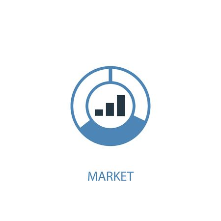 market concept 2 colored icon. Simple blue element illustration. market concept symbol design. Can be used for web and mobile