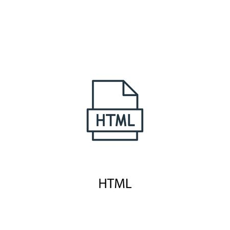 HTML concept line icon. Simple element illustration. HTML concept outline symbol design. Can be used for web and mobile