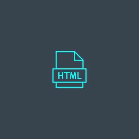 HTML concept blue line icon. Simple thin element on dark background. HTML concept outline symbol design. Can be used for web and mobile