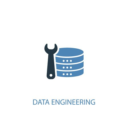 Data Engineering concept 2 colored icon. Simple blue element illustration. Data Engineering concept symbol design. Can be used for web and mobile