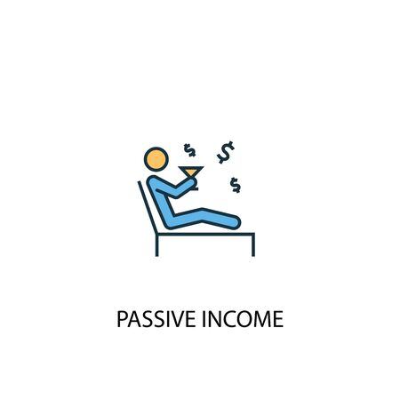 passive income concept 2 colored line icon. Simple yellow and blue element illustration. passive income concept outline design Stock Illustratie