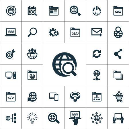 seo icons universal set for web and UI Illustration