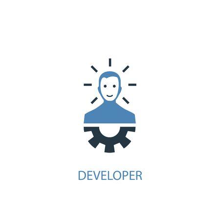 Developer concept 2 colored icon. Simple blue element illustration. Developer concept symbol design. Can be used for web and mobile 일러스트