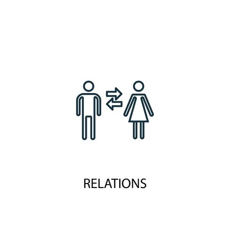 relations concept line icon. Simple element illustration. relations concept outline symbol design. Can be used for web and mobile