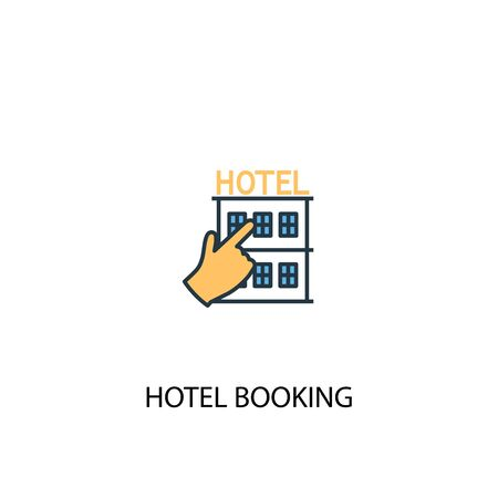 hotel booking concept 2 colored line icon. Simple yellow and blue element illustration. hotel booking concept outline symbol Ilustração