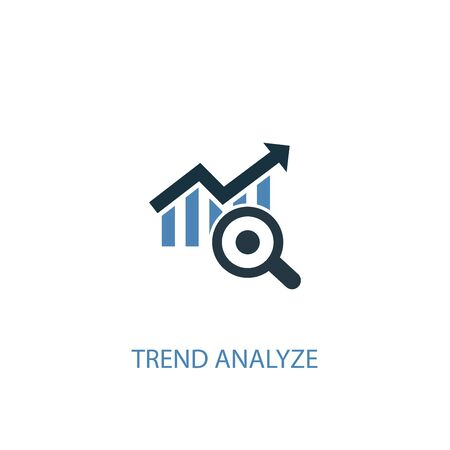 trend analyze concept 2 colored icon. Simple blue element illustration. trend analyze concept symbol design. Can be used for web and mobile