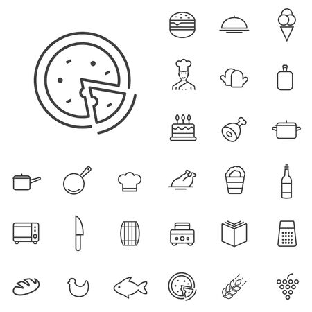 cooking outline, thin, flat, digital icon set