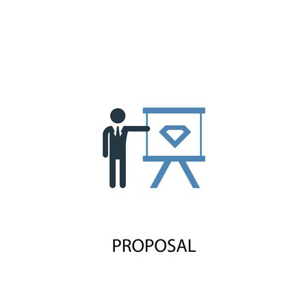 proposal concept 2 colored icon. Simple blue element illustration. proposal concept symbol design. Can be used for web and mobile