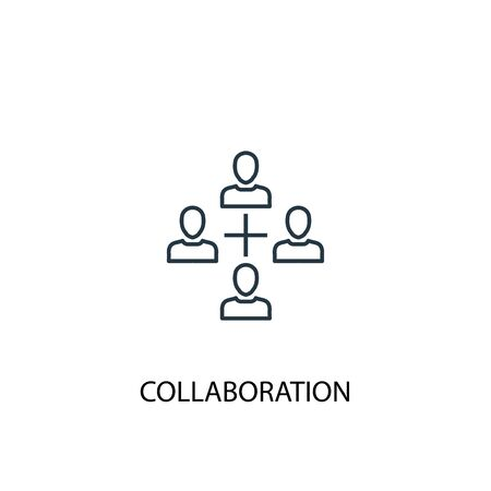 icono de línea de concepto de colaboración. Ilustración de elemento simple. diseño de símbolo de esquema de concepto de colaboración. Se puede utilizar para web y móvil. Ilustración de vector