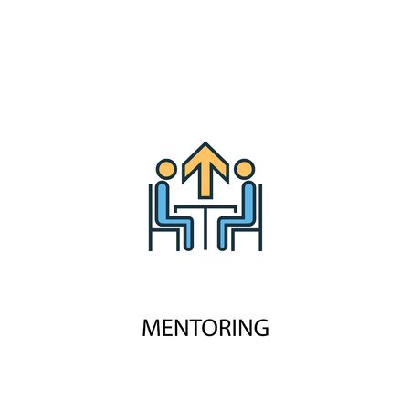 Mentoring concept 2 colored line icon. Simple yellow and blue element illustration. Mentoring concept outline design